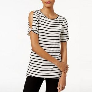 🆕 Bar III Striped Cold Shoulder Pullover Top